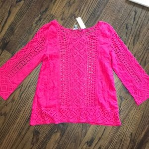 NWT sz L Anthropologie crochet shirt